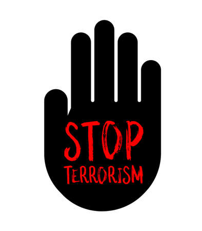 Stop terrorism  in black hand. Logo design, vector Illustration isolated on white background.