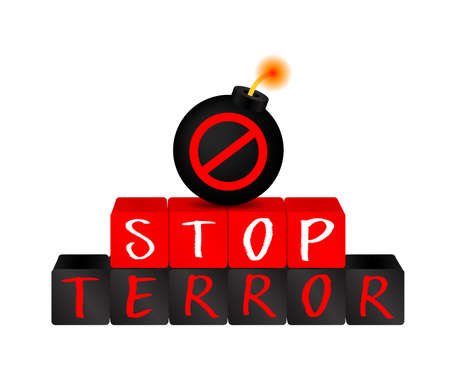 Stop terrorism on block with bomb. icon design, Illustration isolated on white background. Illustration