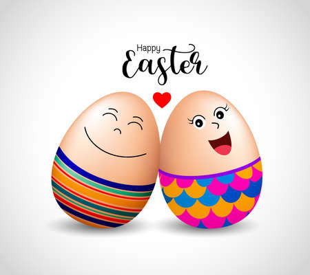 Funny egg characters. Happy Easter day,  Illustration.