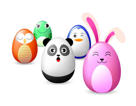 Creative easter concept of eggs . Funny Animal  characters.  Happy Easter day,  Illustration.