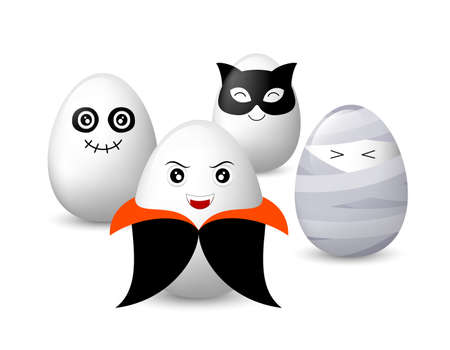 Funny egg characters set. horror illustration concept, dracula, ghost, black cat and mummy isolated on white background. Illustration
