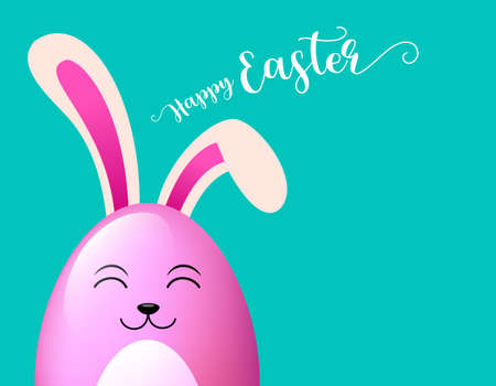 Rabbit oval characters design. Happy Easter concept. Illustration isolated on green background. Great for banner, poster and greeting card.
