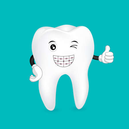Braces tooth mascot. Dental health care concept. Illustration isolated on green background.