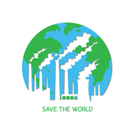 Pollution destroy the planet earth. Save the world concept, vector illustration isolated on white background.