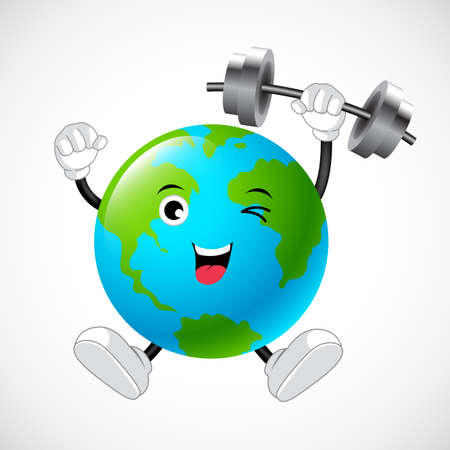 Strong globe mascot weight lifting over. Illustration.