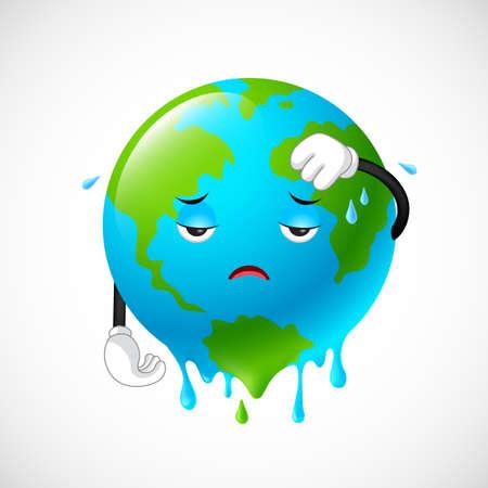 Stop de opwarming van de aarde. Planeet aarde karakter, illustratie.