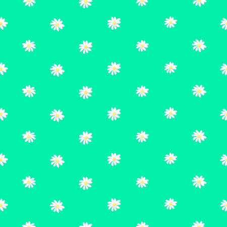 Floral seamless background. pattern for continuous replicate. Vector illustration  on green background.
