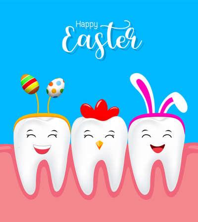 ウサギの耳の装飾、編歯イースターエッグとかわいい歯の文字。幸せなイースターのコンセプトです。青の背景に分離したの図。