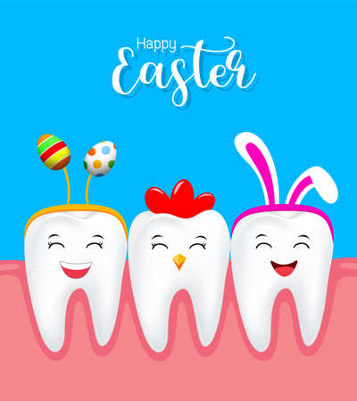 Cute tooth characters with rabbit ears decoration, hen tooth and Easter egg. Happy Easter concept. illustration isolated on blue background.