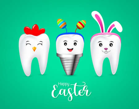 Cute tooth characters with rabbit ears decoration, hen tooth and implant. Happy Easter concept. illustration isolated on green background. Illustration