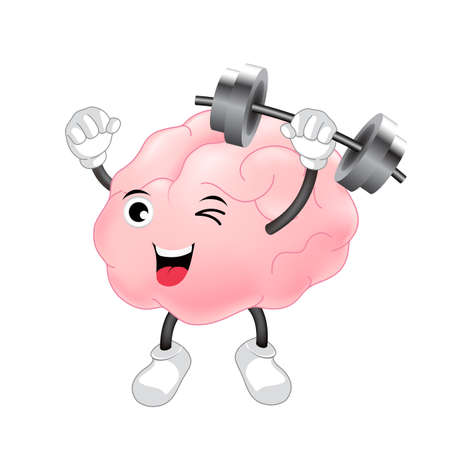 critical care: Happy Brain Character Lifting Weights. Illustration isolated on white background.