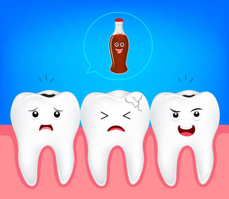 teeth problem from soft drink. Cute cartoon tooth characters, illustration. Dental care concept.
