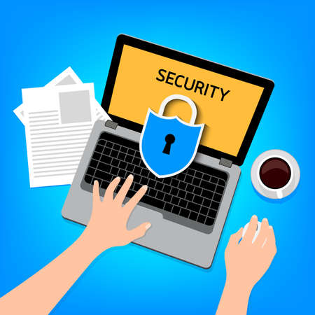 lock block: Shield With laptop. Cyber security icon design. Privacy concept. Illustration blue background.