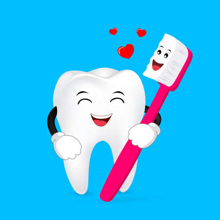 cute cartoon tooth and toothbrush with love forever. Dental care concept, illustration.