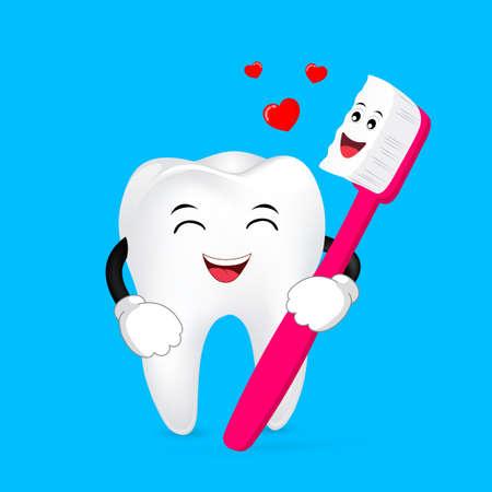 Niedlicher Karikaturzahn und Zahnbürste mit Liebe für immer. Zahnpflege Konzept, Illustration. Vektorgrafik