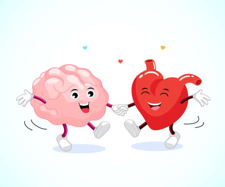 Cute happy brain and heart dancing together. Logic and feel concept, illustration. Vectores
