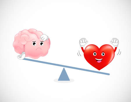 reason: Cute cartoon brain and heart on scale. Concept of balance between logic and emotion. Vector illustration. Illustration