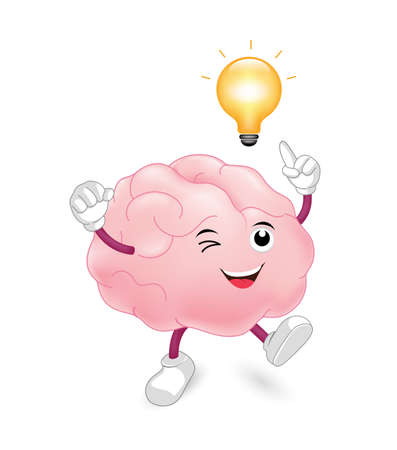Cute cartoon brain character with light bulb. Creativity and innovation concept, illustration isolated on white background.