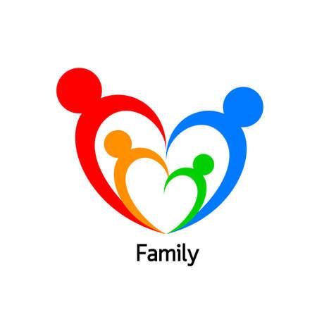 unify: Family  logo in heart shape. logo design, vector illustration isolated on white background.