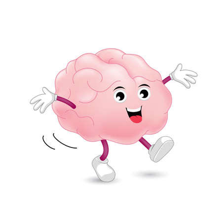 critical thinking: Cute cartoon brain character. Happy and bright concept, vector illustration isolated on white background.