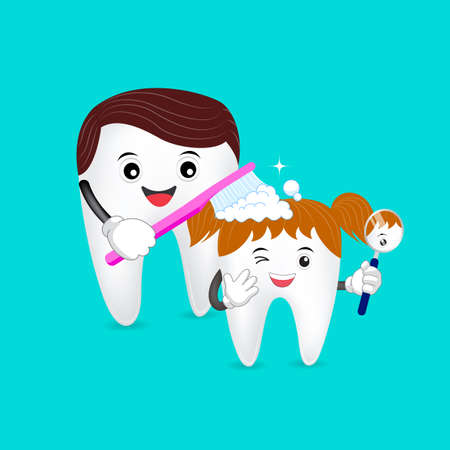 Cute cartoon tooth family. Dad brushing tooth daughter. Happy father Day, great for health dental care concept. illustration on green background.