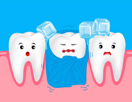 impacted: Sensitive teeth. Cute cartoon tooth character with blanket and ice.  Dental care concept.  Illustration on blue background. Great for Poster. Banner design. Illustration