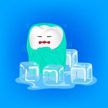 impacted: Sensitive teeth. Cute cartoon tooth character with blanket and ice.  Dental care concept.  Illustration on blue background. Great for Poster, Banner design.