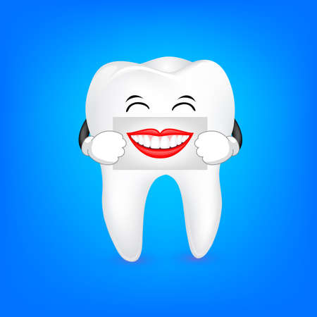 Cute cartoon tooth character holding the human mouth on the sheet of paper over the mouth. Dental care concept.  Illustration isolated on blue background.