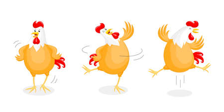 upside: Set of happy chicken dancing. Rooster year character design, vector illustration isolated on white background. Illustration