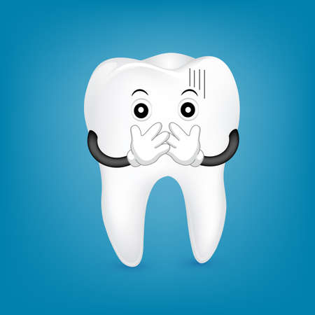 Tooth character covering the mouth. Dental problems and gum disease. Illustration on blue background.