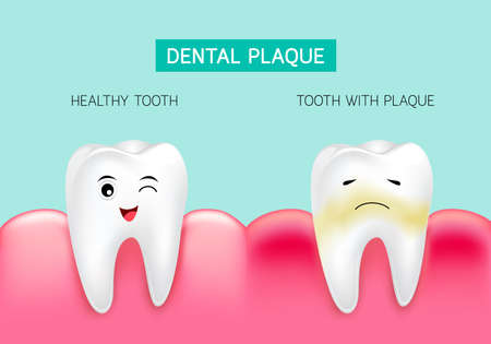 Dental plaque with inflammation and healthy tooth. Cute cartoon design, illustration isolated on green background. Dental care concept. Ilustração
