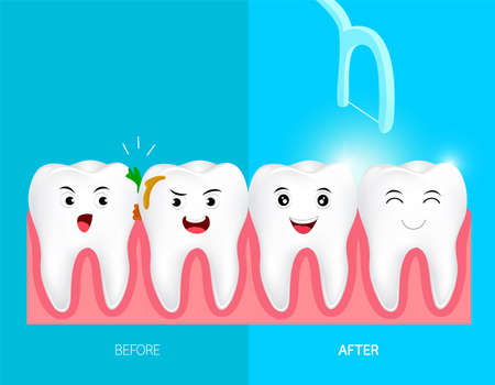 Teeth with dental floss for health care. Before and after, dental care concept. Cute cartoon tooth character. Illustration