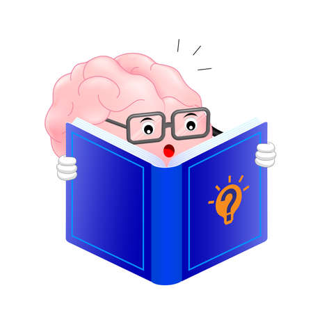 Cute brain cartoon character reading book. Mascot featuring a glasses-wearing. creative thinking and Learning. Activate your brain concept. Illustration isolated on whith background