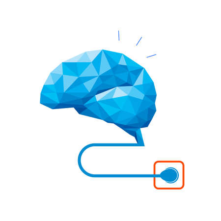 Polygonal brain design plug in. Activate your brain concept. Vector illustration isolated on white background.