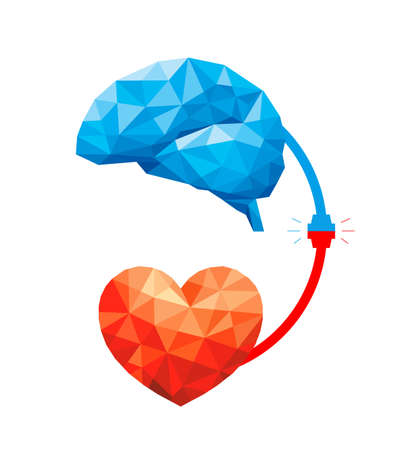 Connection between logic and emotion concept. Polygonal style of  Brain and heart. Vector illustration design isolated on white background. Иллюстрация