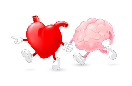 Heart leading brain character. hand in hand and walking together. Emotion over concept. Use brain and heart, vector illustration isolated on white background. Vectores