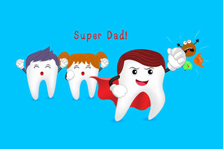 punching: Power of super dad, tooth character design. health cartoon tooth punching  bacteria, great for dental care concept. Illustration isolated on blue background. Illustration