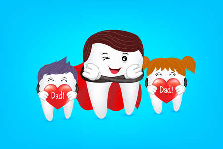 Super dad with family, tooth characters design. Love dad, happy father day.Great for dental care concept. Illustration isolated on blue background. Иллюстрация