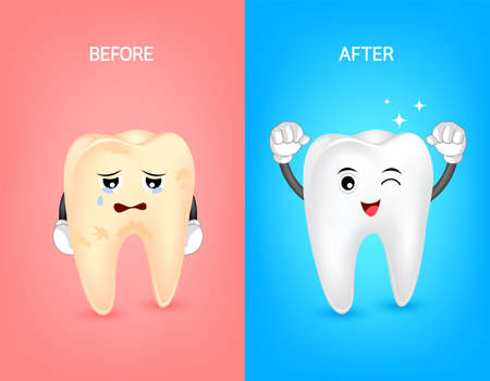 Cartoon tooth character before and after. Whiten yellow teeth. Dental care concept,  illustration.