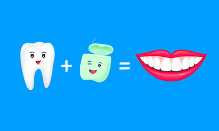 Tooth plus dentall floss equal fresh and whitening teeth. Cute cartoon character design. Vector illustration isolated on blue background.
