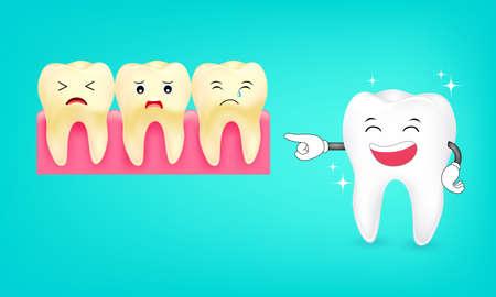 dientes sucios: Carácter lindo del diente de la historieta Riendo. Blanqueamiento y dientes amarillos. Concepto de cuidado dental, ilustración. Vectores
