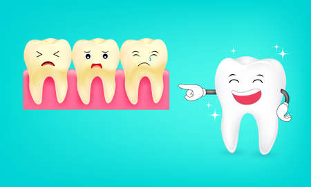 Cute cartoon tooth character Laughing. Whitening and yellow teeth. Dental care concept,  illustration. Illustration