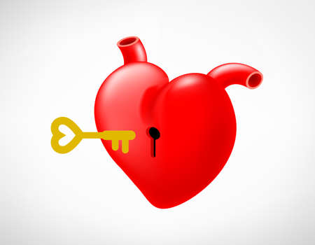 Keyhold on red heart with key.  Metaphor love concept. Unlock your heart, Vector illustration. Illustration