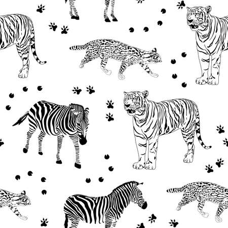 野生生物動物のシームレスなパターン。ゼブラ、虎と野生の猫。黒と白、ベクトル イラスト。