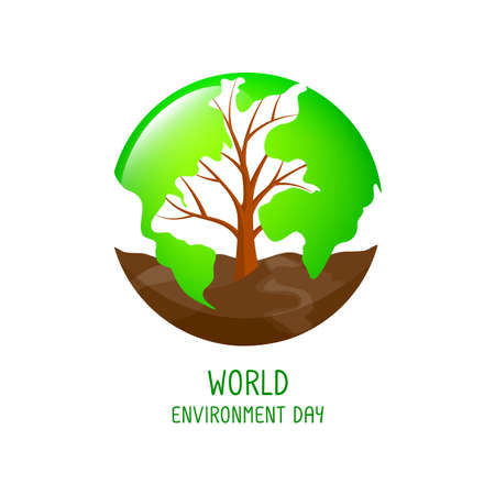Tree shaped world map with soil. World enviroment day concept. illustration isolated on white background.