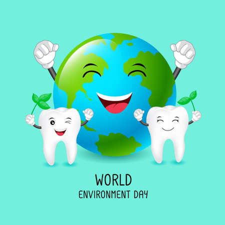 Cute cartoon tooth with earth character. World environment day concept. Dental care illustration isolated on green background.