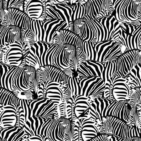 Zebra seamless pattern. Wild animal texture. Striped black and white. design trendy fabric texture, illustration. Illustration
