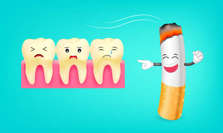 Smoking effect on tooth. Problem from cigarette. illustration of sad tooth. Dental care concept.