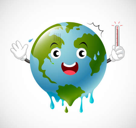 Poorly globe character scared of thermometer. global warming concept. illustration. Illustration