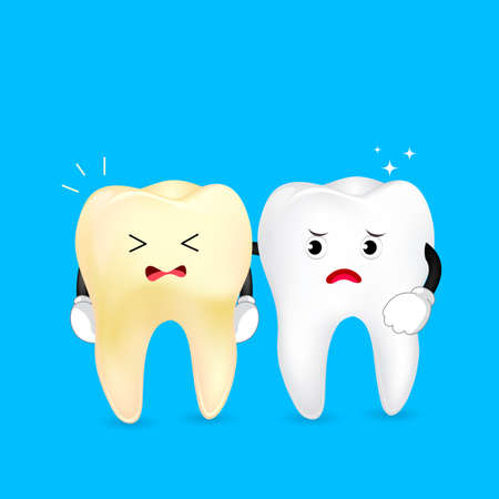 White and yellow tooth characters. Dental care concept. Illustration on blue background. Illustration